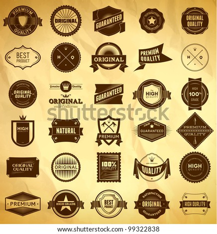 Big set of vintage Premium Quality labels - stock vector