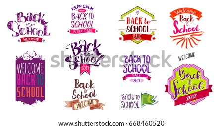 Big set of Welcome back to school labels. School Background. Back to school sale tag. Vector illustration. Hand drawn lettering badges. Typography emblem set.