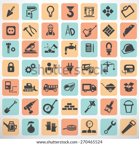 big set of work tools and construction icons and symbols - stock vector