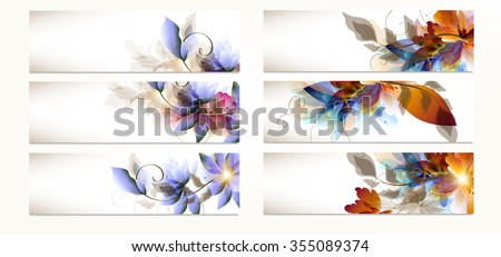 Big set or collection of abstract floral backgrounds for design - stock vector