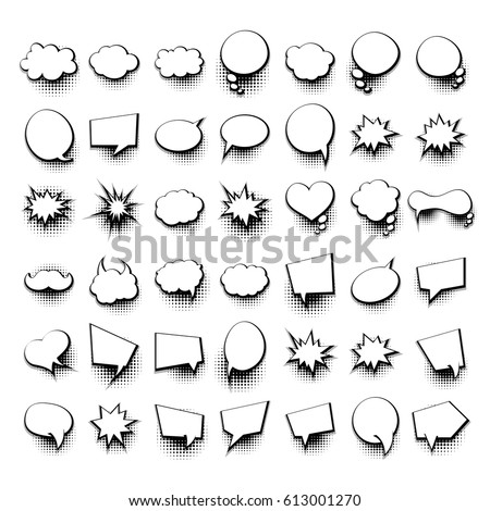 Empty comic collection trendy colored cloud stock vector for Comic strip bubble template