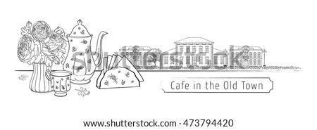 Big set street cafe - tea, cup, teapot, Ranunculus flowers in a vase and a street view of the old houses with lanterns, stone and wood. Vector, isolated, background. For menu, invitation card, design.