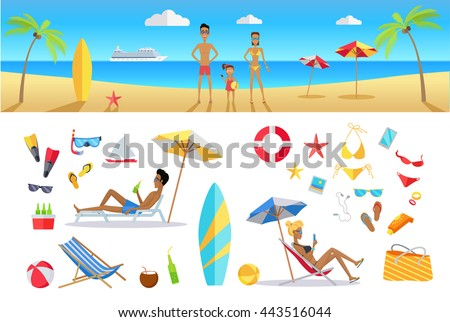 Big set summer vacation items in flat design. Leisure with family on tropical sunny beach with palm trees vector illustration. Variety of things for entertainment on beach and water in flat design. - stock vector