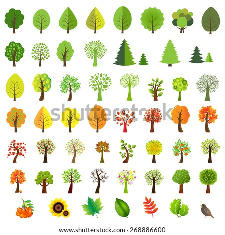 Big Set Trees With Gradient Mesh, Vector Illustration - stock vector