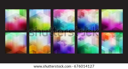 Big set trendy geometric illustration backgrounds, placards with abstract geometric polygonal shapes, design elements. Retro art for covers, banners, posters.
