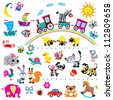 big set with cartoon toys,vector images for babies and little kids,simple pictures isolated on white background,children illustration - stock
