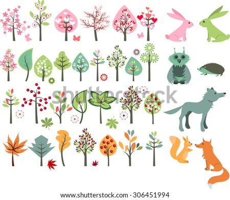 Big set with summer trees and forest animals - wolf,fox,hedgehog,squirrel. - stock vector