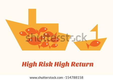 Big ship has high risk but also high return - stock vector