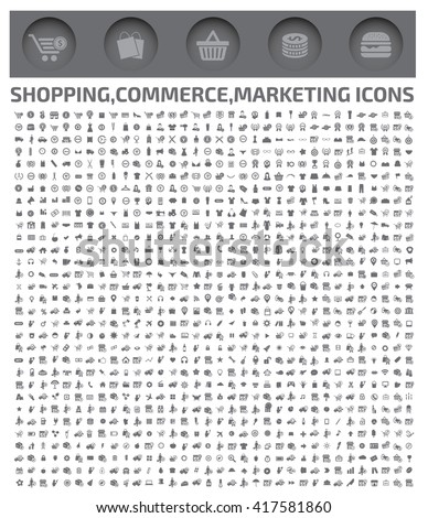 Big shopping icons,commerce icons,vector - stock vector