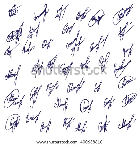 Big Signatures set - group of fictitious contract signatures. Business autograph illustration. - stock vector