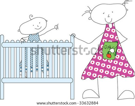 Big sister brings little brother to bed - stock vector