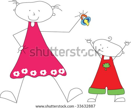 Big sister tease her  little brother - stock vector