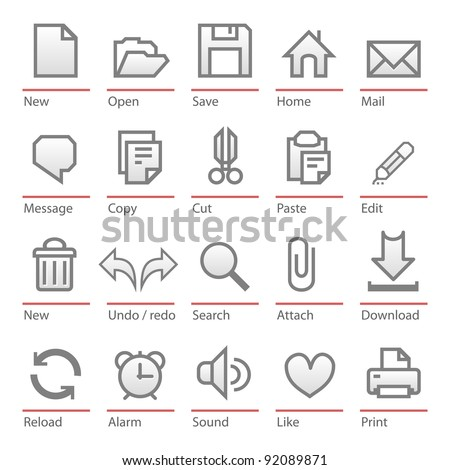 Big size minimalist icons for every day use - stock vector