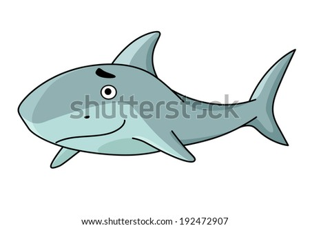 Big smiling swimming blue cartoon shark, side view, vector illustration isolated on white