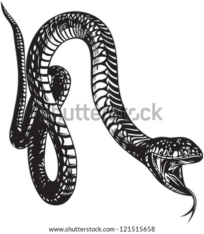 Big snake with open mouth, black and white style - stock vector