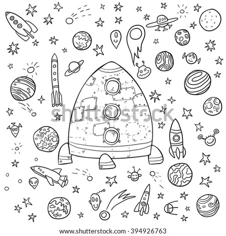 big space doodle set, planets and stars cartoon,rockets and aliens, hand drawn vector design elements