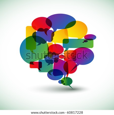 Big speech bubble made from colorful small bubbles - stock vector