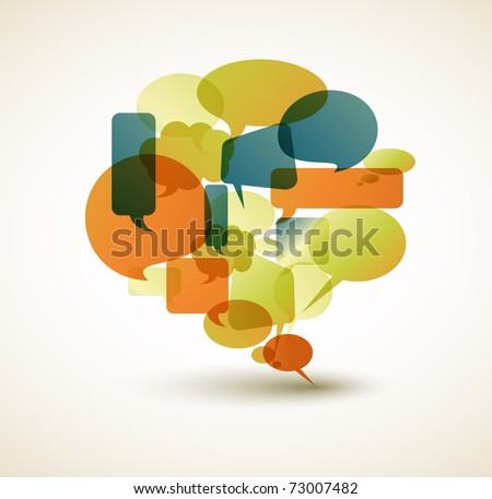 Big speech bubble made from small bubbles - retro colors - stock vector