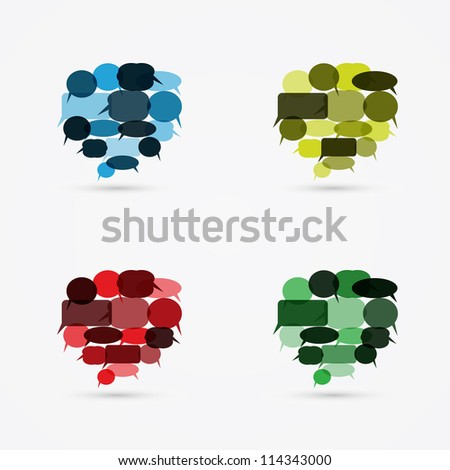 Big speech bubbles from smaller speech bubbles - stock vector
