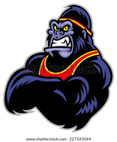 Big sporty gorilla crossed arm - stock vector