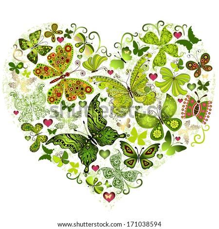 Big spring grunge heart made of green butterflies (vector) - stock vector