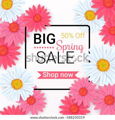 Big spring sale background beautiful colorful stock vector 588250319 big spring sale background with beautiful colorful flowers vector template for wallpaper flyers mightylinksfo