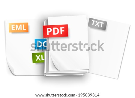 Pdf Icons Stack Paper Sheets Vector Stock Vector