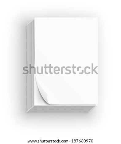Big stack of white paper sheets, vector illustration