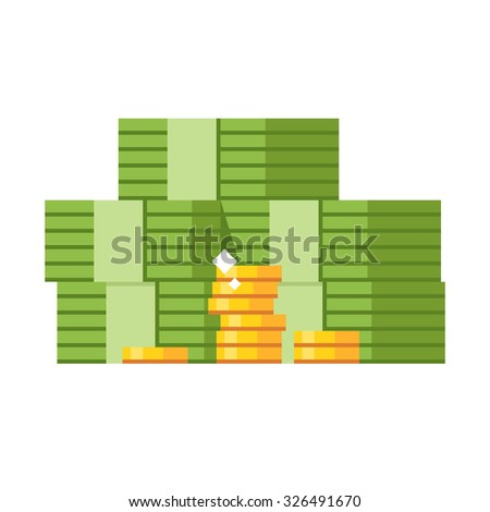 Big stacked pile of cash and some gold coins. Flat design style illustration - stock vector