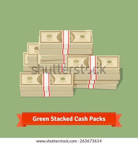 Big stacked pile of cash. Hundreds of dollars. Flat style isometric vector illustration. - stock vector