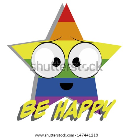 big star with expression of emotion in rainbow colors, yellow text, white background. - stock vector