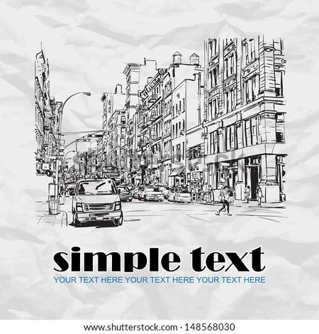 Big street. Hand drawn vector illustration - stock vector