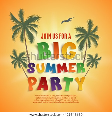 Big summer party poster template  on orange background with palms and seagull. Vector illustration.