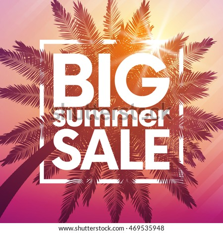 Big summer sale background with palm. Vector background for banner, poster, flyer, card, postcard, cover, brochure.