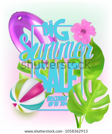 Big Summer Sale Banner With Inflatable Toys For Swimming Pool And Tropical  Leaves. Vector Illustration