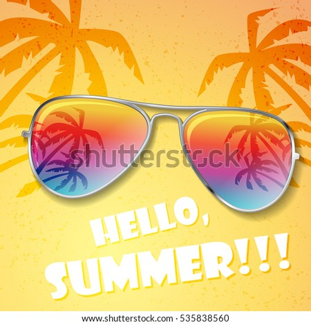 Big summer sunglasses with palms and white sample text