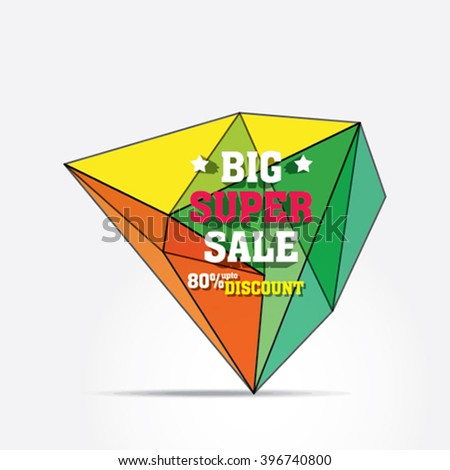 big super sale banner by crystal pattern design vector