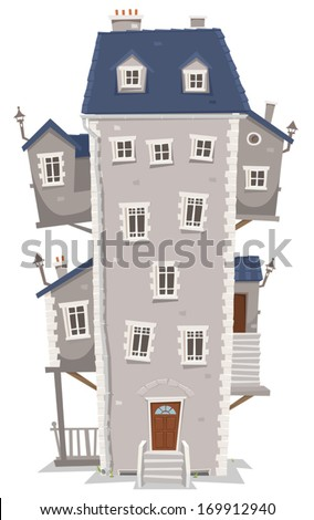 Big Tall House Building/ Illustration of a cartoon old high and big building home with windows, apartments and outbuildings on each side and stairs - stock vector