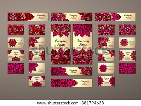 Big templates set. Business cards, invitations and banners. Floral mandala pattern and ornaments. Oriental design Layout. Asian, Arabic, Indian, ottoman motifs.