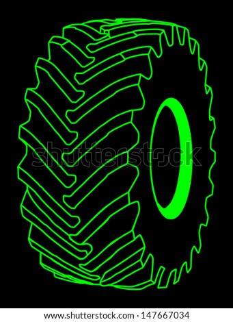 big tire isolated on black background vector - stock vector