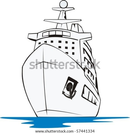 big tourist nave frontal - stock vector