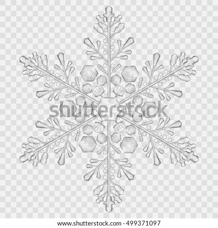 Big translucent crystal snowflake in gray colors on transparent background. Transparency only in vector file. Christmas snowflake. One big snowflake. Transparent snowflake. Complex crystal snowflake.