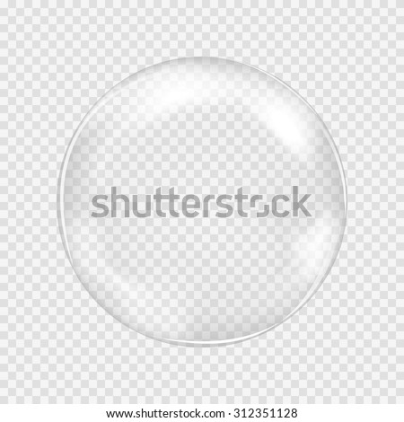 Big transparent water glass sphere with glares and highlights. White pearl. Soap bubble. Vector illustration with transparencies, gradients and effects. Abstract pattern for your design and business. - stock vector