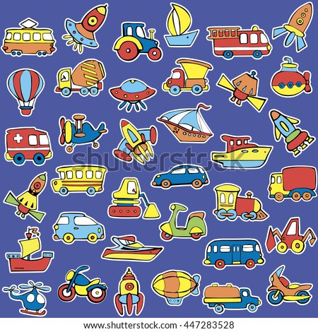 Big transportation icons collection. Cute  baby pattern. Set of transport for children. Hand drawn vector illustration. - stock vector