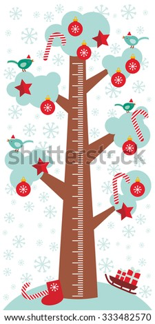Big tree with white snow on the branches, birds and red christmas decorations. Candy, balls, stars, sock, sleigh with gifts on white background Children height meter wall sticker, kids measure. Vector - stock vector