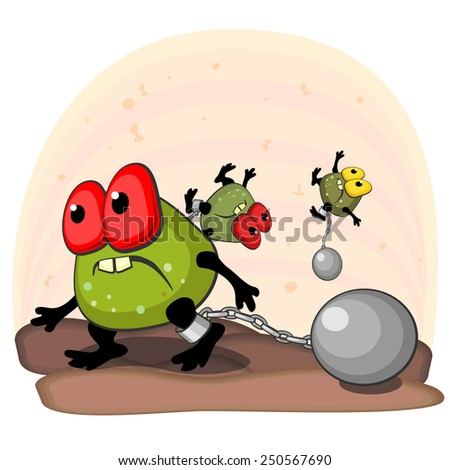 Big ugly germ blocked with cannonball on leg as concept of antibacterial action - stock vector