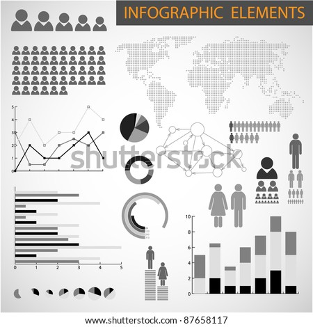 Big Vector Black and white set of Infographic elements for your documents - stock vector