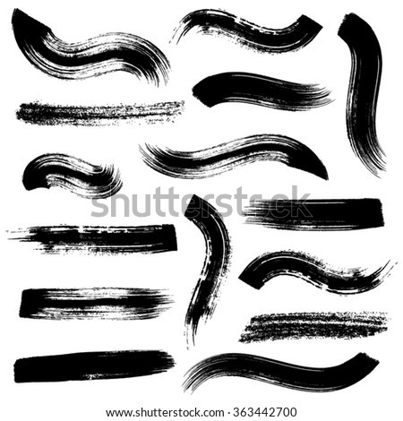 Big vector black brush strokes collection on white - stock vector