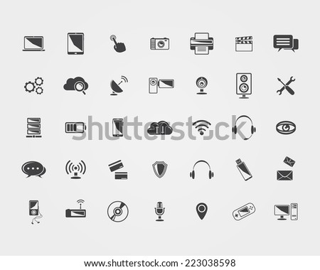 Big Vector black Technology icons set