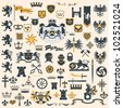 Big vector collection - Heraldic Design Elements - stock photo